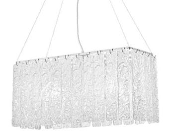 Italian chandelier - white glass rectangular