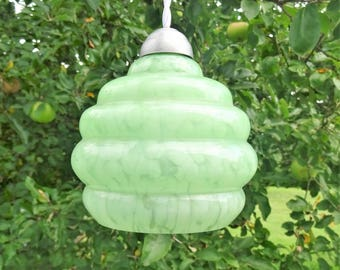 Ceiling light lamp shade french Art Deco 1930 Clichy glass light green shade suspension/illuminati10