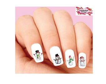 Waterslide Nail Decals Set of 20 -  Christmas Holiday Snowman Assorted