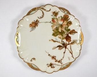 Antique 1890s Haviland Limoges Fleur Parisienne impressionist mallow porcelain plate no.5