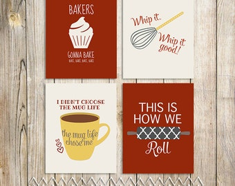 4 Piece Kitchen Art Printable Set