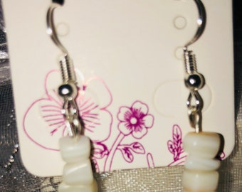 White mother of pearl drop earrings