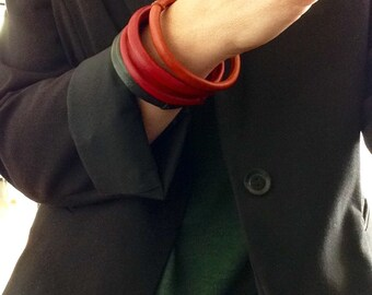 Boho Leather Bangles in Orange, Red and Green