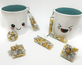 Gold and silver in resin