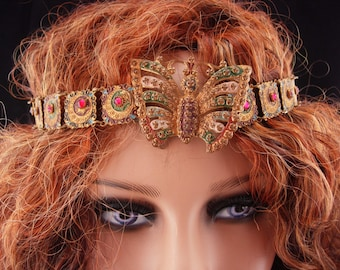 Antique czech earrings / moon star jewelry / Butterfly headband/ art nouveau jewelry / Vintage Czech Enamel / Antique