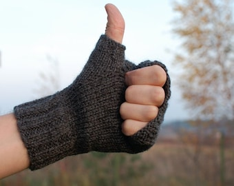 Mens fingerless mittens charcoal gray hand knit Eco gift - Organic merino wool cable knit fingerless glove