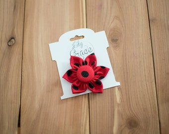 Red and Black Polka Dot Flower Bow Headband Hair Accessories Nylon Headband Clips Piggie Clips pigtails