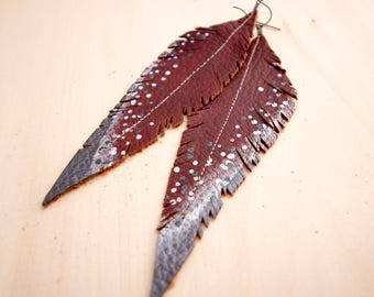 Long Burgundy Brown, Pewter and Silver Accent Hand-painted Reclaimed Leather Feather Earrings