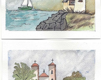 Pair of Original Pen and Ink Drawings with Watercolor Wash - Old Mission and Lighthouse on Rocky Coast with Sailboat