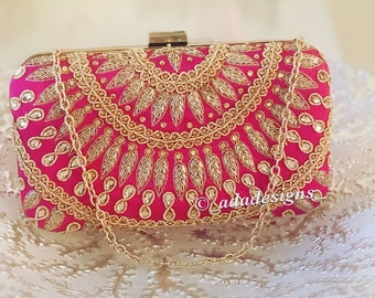 Pink Clutch with Gold Work