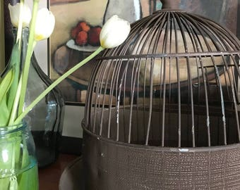 Chippy Rustic Vintage Birdcage .  Mesh and Wire Metal . Hanging Loop / Pedestal Base / Swing Out Door . Farmhouse/Cottage/Wedding Decor