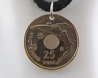 Spanish Olympic Coin Necklace, 25 Pesetas, Coin Pendant, Mens Necklace, Womens Necklace, Leather Cord, Birth Year, 1990