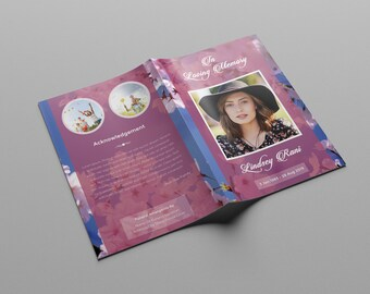 Funeral Program Template | Memorial Obituary Template | Photoshop & MS Word Version | Instant Download