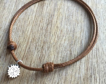 Sun Anklet, Brown Waxed Cord Anklet, Unisex Adjustable Anklet  WA001020