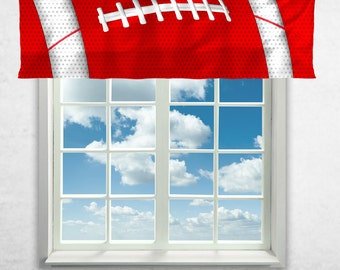 Football Curtains, Team Colors, Football Window Curtain, Football Valance, Personalized, White, Red, Football Theme Curtains