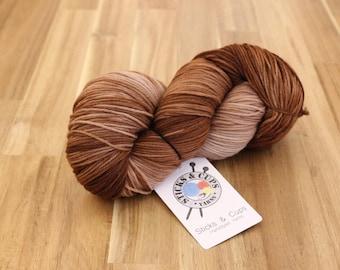 Hand dyed yarn, sock yarn, yarn, knitting yarn, wool, knitting wool, crochet, knitting, Sockstravagance Caramel Chocolate Fudge