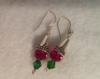 Silver, Red, and Green Holiday Dangle Earrings