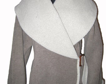 Fleece Wrap Jacket Ash