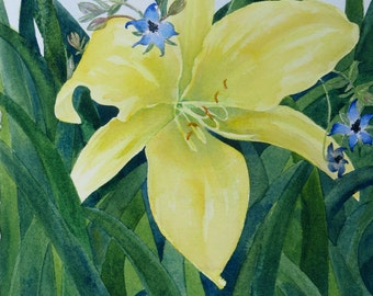 Yellow Lilly Original Watercolor