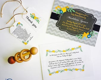 Printable - Madeleine Baby Shower Invitation | Printable | Printed | Custom | Yellow | Chevron | Gender Neutral