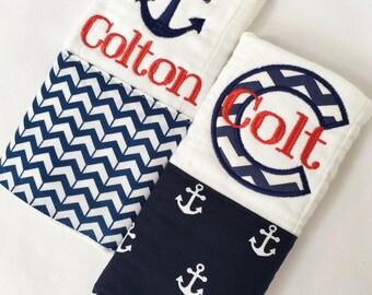 Personalized Nautical Burp Cloth Set, Baby burp cloth, Burp cloths, Embroidered burp cloths, Custom burp cloth, Monogrammed burp cloth