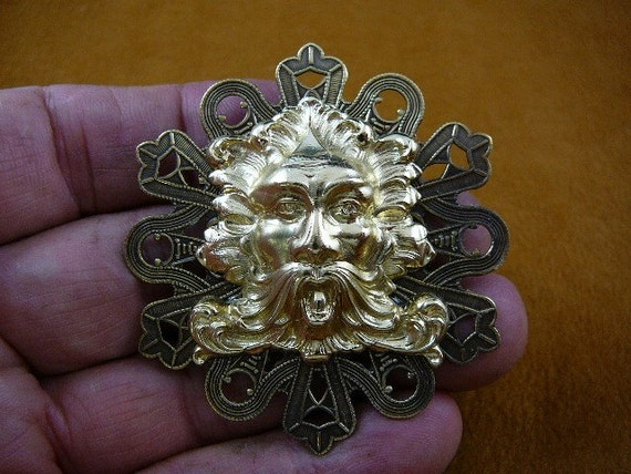 Green Man Aeolus God Of Wind Nature Mask Victorian Repro Brass