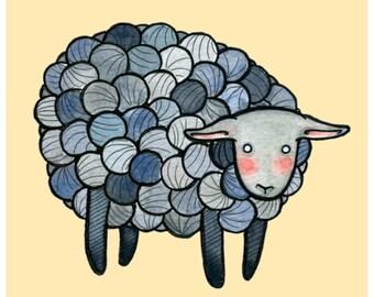 "Yarn Sheep- Sheep Illustration - Sheep Print - 8"" x 10 "" Black Sheep Grey Sheep - monochromatic - nursery art"