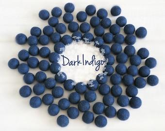 Wool Felt Balls - Size, Approx. 2CM - (18 - 20mm) - 25 Felt Balls Pack - Color Dark Indigo-2095 - Dark Blue Pom Poms - Dark Blue Felt Balls