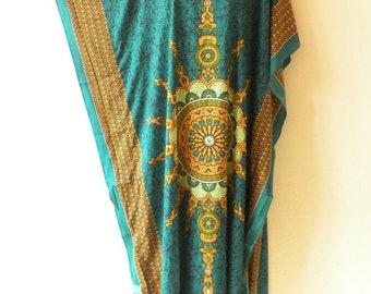 Batik Abstract Dolman Batwing Viscose Caftan Kaftan Tunic Hippy Maxi Dress - XL, 1X, 2X & 3X