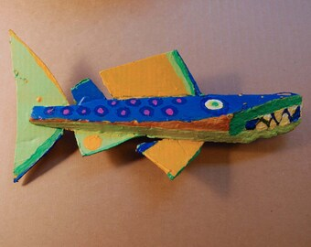 Original Paiinted Wood Fish Art Created from Driftwood and Recycled Materials