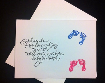 7 inspirational, Christian, Pro Life,  blank note cards and envelopes. Pro-Life, baby feet. Greeting cards.