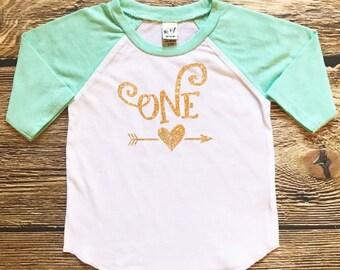 Girls First Birthday Shirt Baby Girl First Birthday Outfit 1st Birthday Girl Shirt First Birthday Girl Shirt Glitter One Birthday Shirt Gold