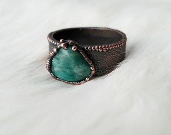 Size 5.5 amazonite wide band ring electroformed copper crystal ring