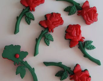 RED ROSES - Flower Stem Love Romance Valentine's Day Dress It Up Flat-backed Craft Buttons