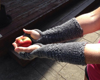 Claire Mitts, Fingerless Gloves, Handmade, Knit, Wrist Warmers, Texting Gloves, Arm Warmers