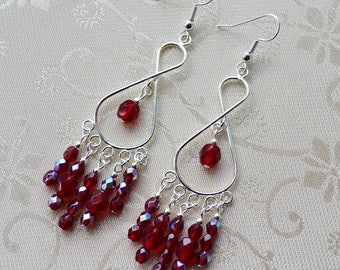 Red Chandelier Earrings, Ruby Red Peardrops, Red and Silver Large Earrings