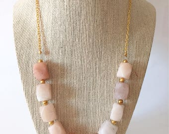 Peach Stone and Gold Chunky Statement Necklace