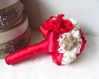 Bridal Fabric Brooch Bouquet /  Brooch Bouquet