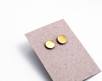 Geomeric Ohrstecker Ohrringe - gold Farbe - minimalistisch, modern rund poliert Messing Schmuck