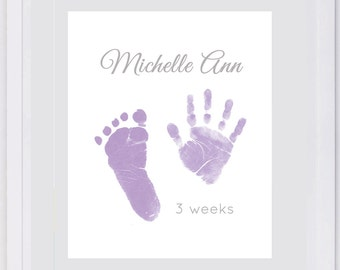 Hand and Footprint Art. Choose colors. Add custom message. Mother's Day, Baby in memory
