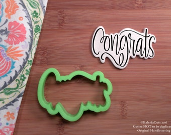 Congrats Cookie Cutter. Hand Lettered Cookie Cutter. Graduation Cookie Cutter. Anniversary Cookies. Unique Cookie Cutter. KaleidaCuts.