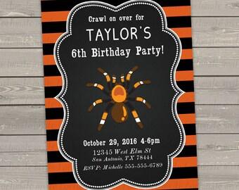 halloween birthday invitations printable, creepy spider invitations, kids birthday party invites printed, digital halloween party invites