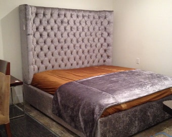 Princess Crown Tufted Upholstered Headboard With Nickel