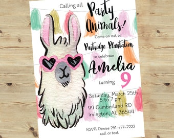 5x7 Printable Pink Party Animal Birthday Party Invitation | Llama Birthday invitation | Kids Birthday Invitation | Alpaca Invitation