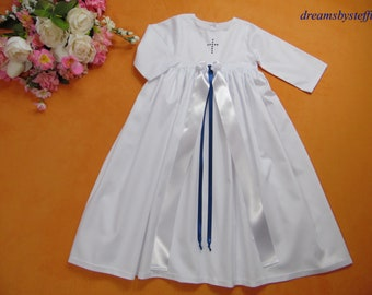 Christening gown satin bow 100% Cotton,