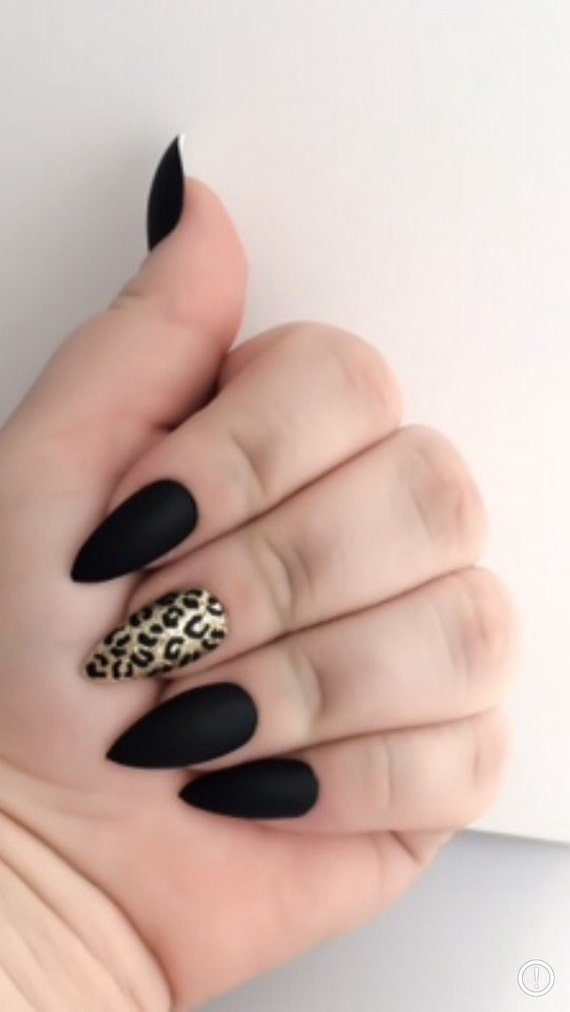 Matte Fake Nail Set - Stilleto False Nails - Black Acrylic Nails ...