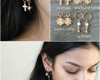 Gold Hoops, 14k gold filled small earrings with removable charms: starburst, cross, cubic zirconia bar, peace sign, hammered coin,cz drop
