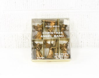 Vintage Shiny Brite Christmas Angel Band - Figurine Set - Xmas Holiday Decorations Instant Collection - Gold Angels