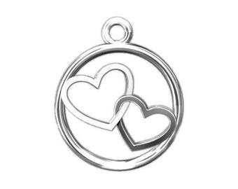 Charm Double Heart Sterling Silver 925