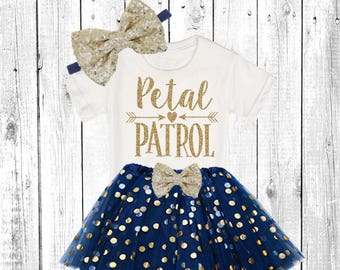 Petal Patrol. Flower Girl Shirt. Flower Girl Outfit. Flower Girl Tutu Outfit. ** In Navy and Gold **